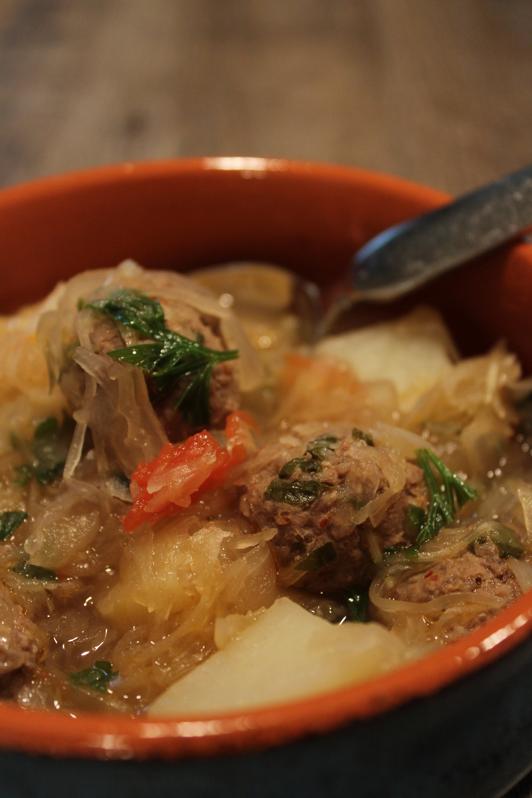 One Pot Meatball Sauerkraut Soup